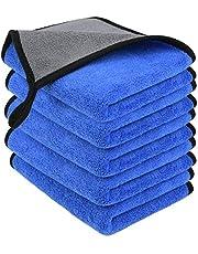 URAQT Microvezel reinigingsdoeken, 5 Pack Auto Reinigingsdoeken, Tweelaags Verdikte Microvezel Handdoeken, Lint Free Super Absorberende Reinigingshanddoek voor Huishouden en Auto wassen, Drogen, Detailing, 40x30cm