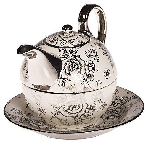 DRULINE Tea for one Teekännchen Kanne Teekanne mit Tasse und Untersetzer Rosen Blumen Teekannen &...