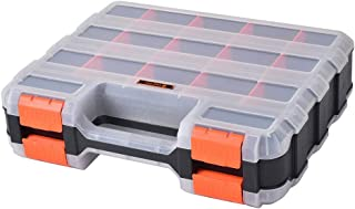HDX 320028 34-Compartment Double Sided Organizer with Impact Resistant Polymer and Customizable Removable Plastic Dividers,Black/Orange