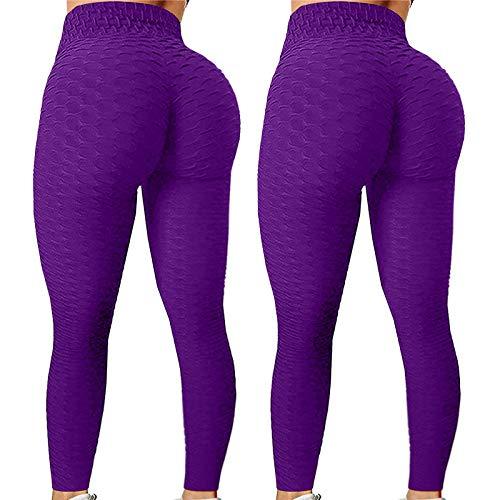Leggings de Yoga, elásticos, para mujer, fitness, running, gimnasio, deportes, pantalones activos, running, deporte, talla alta, 2 unidades malva XL