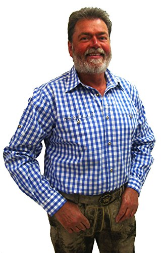 Herren Trachtenhemd blau weiß kariert Slim Fit Herrenhemd Langarm Edward (38, Blau)