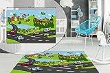 Tráfico de la ciudad Kids Dormitorio piso alfombra niños suave juego alfombrillas alfombras antideslizante lavable 80x 120cm