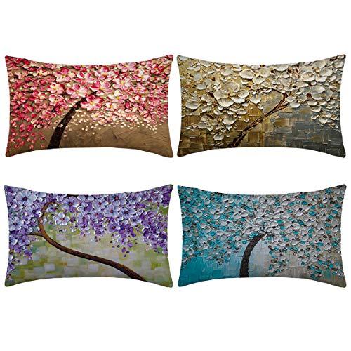Thmyo 4 Fundas de Almohada, Fundas de cojín de Lino y algodón para sofá, Cama de 12 x 20 Pulgadas (Solo Funda, sin Relleno)