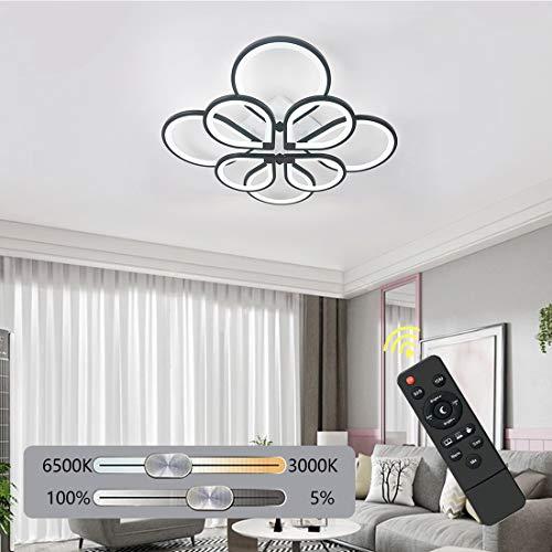 Ganeed Plafoniera a LED Dimmerabili, 104W Lampadario LED Fiore Moderno, Lampada Soffitto in Acrilico con 8 Anelli per Soggiorno, Camera da Letto, Cucina, Sala da Pranzo, 3000-6500K
