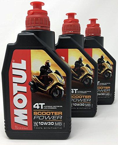 MOTUL Aceite 4 Tiempos Moto Scooter Power 4T 10W-30 MB, 3 litros (3x1 lt)