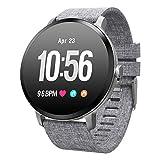 Padgene SmartWatch Pulsera Actividad Reloj Inteligente Deportivo IP67 Bluetooth con Pulsómetro Monitor de Sueño, Música, Cámara Remota, Notificación de Llamada Mensaje para Android e iOS (Gris)