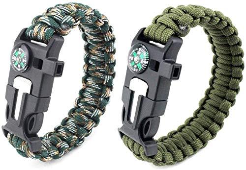 Bracelet Multifonctionnel Extérieur, Bracelet en Corde De Parapluie, Bracelet De Survie, Corde De Parapluie Extérieure Multifonctionnelle, Ligne De Vie à Sept Noyaux Adventure Camp (2 Pezzi)