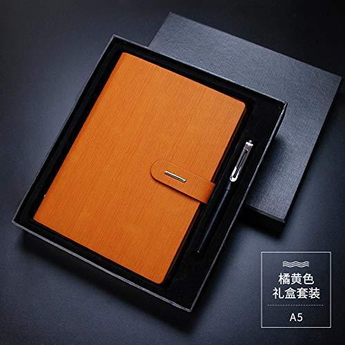 DLYGH Blocs de Notas Libreta de Visita de Encargo Cuaderno de Hojas Sueltas portátil A5 A5 Naranja Tierra Cubierta de la Caja de Regalo (Color : -, Size : -)