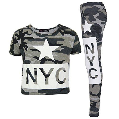 A2Z 4 Kids Enfants Filles Top NYC Camouflage - NYC Camo Set Charcoal 11-12