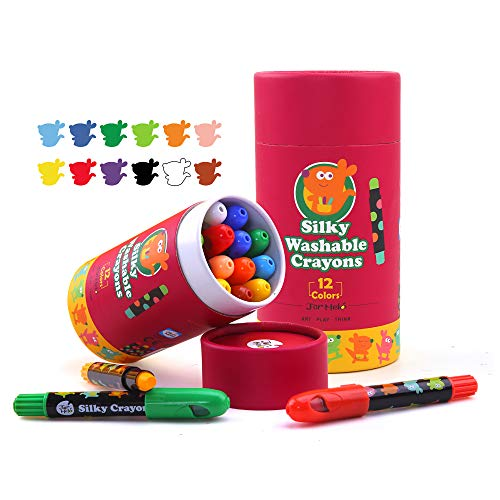 Jar Melo Washable Jumbo Crayons for Toddler -12 Colors ;Non Toxic;Twistable Gel Window Crayons;Silky Bath Crayon for kids ; Art Tools;