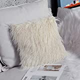 OJIA Deluxe Home Decorative Super Soft Plush Mongolian Faux Fur Throw Pillow Cover Cushion Case (24 x 24 Inch, Light Yellow)
