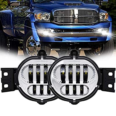 TRUCKMALL LED Fog Lights Projector Fog Lamp Replacement Driver and Passenger Side for Dodge Ram 1500 2500 3500 Pickup Truck 2002 2003 2004 2005 2006 2007 2008 2009- Chrome