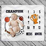 Homegician Baby Monthly Milestone Blanket Photo Prop for Newborn Growth Photography Basketball Champion Sports Month Blanket for Baby Boy Shower Gift