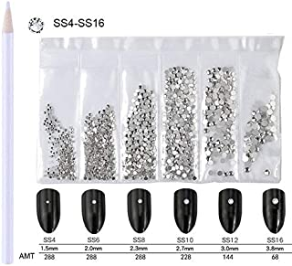 WOKOTO Nail Crystals Clear Rhinestones White Flatback 3d Decorations For Nails With Picker Pencil Mix-Size SS4-SS16 Diamon...