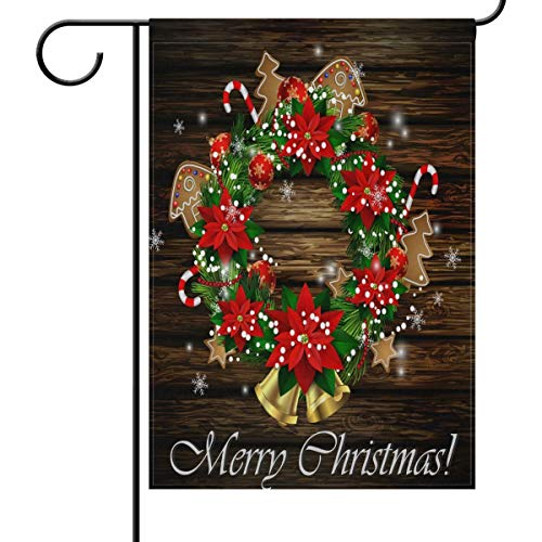 N\ A Garden Flag 28x40 Double Sided Christmas Wooden Bell Poinsettias Flower Decorative House Yard Flags for Outside Outdoor Welcome Home Decor Banner Large Size 28 x 40 inches