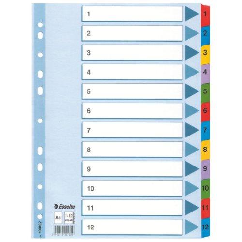 Esselte Intercalaires A4 1-12, Touches et Bande Perforée Renforcées en Mylar, Carton Résistant, Bleu, 12 Onglets avec Table des Matières, 100162