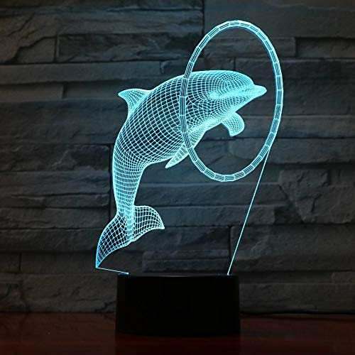 Cute Dolphin 3D Table Lamp Decor Color Change Night Light USB Table Lamp Decor Home Decor Hobbies