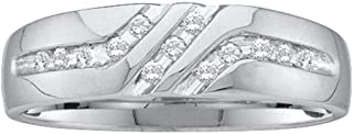 Solid 10k White Gold Men's Round Channel-set Diamond Triple Row Wedding Band Ring 1/8 Cttw.