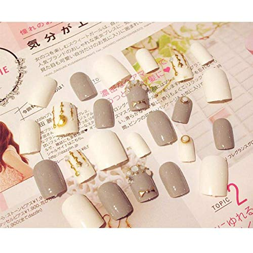 CLOAAE Fashion Gray White Jump Color 3D Rhinestone False Nail Short Size Fake Nails With Ladies Simple Casual Artificial Nails