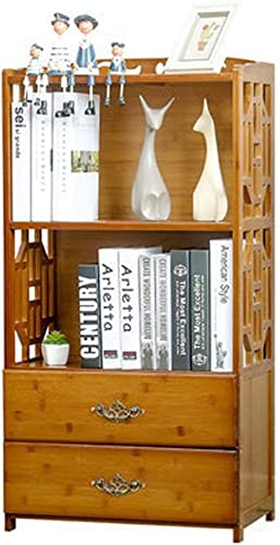 DMMW Estante para Libros Vintage Tallado for Sala de Estar Dormitorio estantería de Flores con 2 cajones Bastidor de Almacenamiento para Sala de Estudio (Color   Wood Color, tamaño   42  29  100cm)