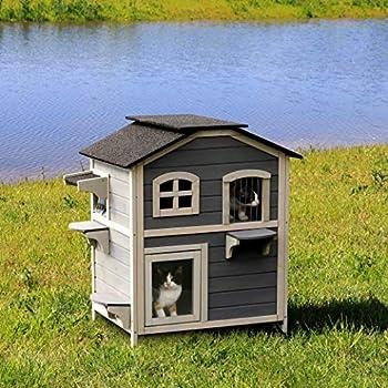 dibea Maison pour Chat cabane pour Chat Villa pour Chat abri Chat enclos Chat Gris