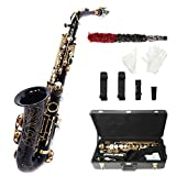 Alto Eb SAX Saxophone Black Lacquer Finish, Professional/Student Brass Made Alto Saxophone with Reed, Hard Case, Gloves, Cleaning Cloths, Mouthpiece Brush, Mouthpiece Cushion, Black