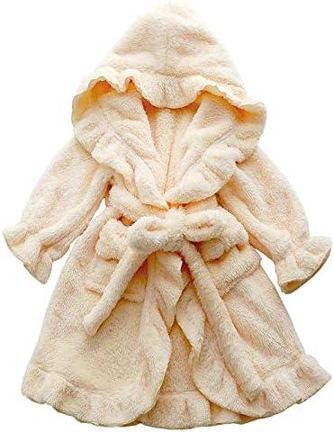 QYLLXSYY Winter Robe Children's Bathrobe for Girls 2-13Y Flannel Bathrobe Cute Pink Baby Bathrobe with A Hood for Children Winter Bath Robe Kids (Color : Yellow, Kid Size : MOM S)