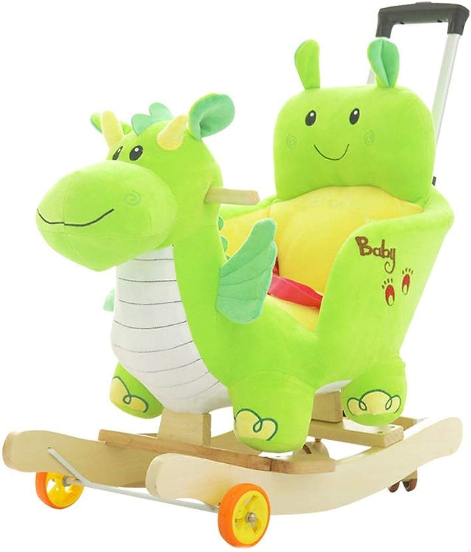 Schaukelpferd Festes Holz Kind Fahren auf Spielzeug DREI Gnge justierbare Schubstange mit Universalrad mit der Musikfunktion, die für Kinder im Alter von 1-6 Grün ist xiuyun