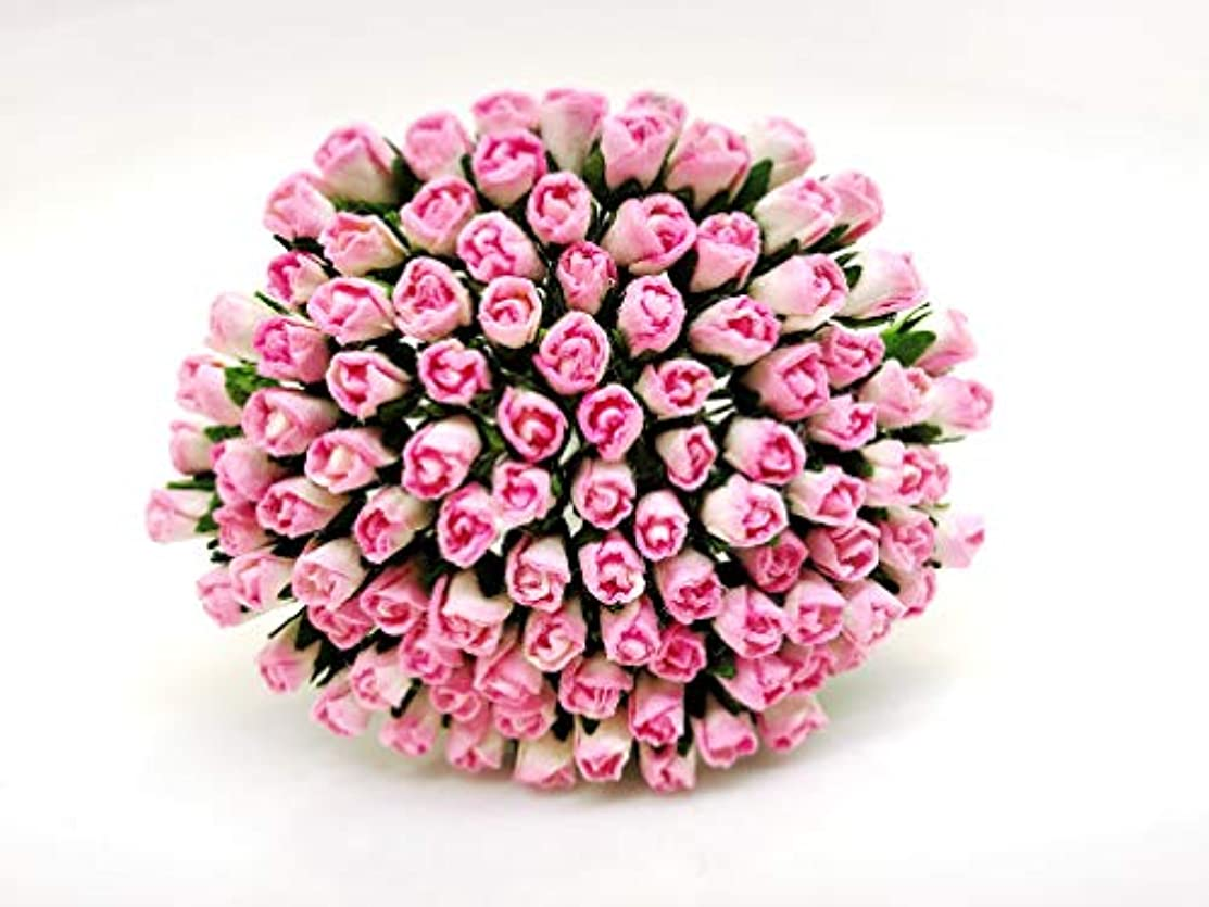 Tyga_Thai Brand 100 pcs. Cream Pink Color Rose Buds Mulberry Paper Flower Craft Handmade Wedding 5 mm. Scrapbook for so Many Card & Craft Projects CMR2-1#518 (MULBERRY-PAPAER-ROSE-5MM)