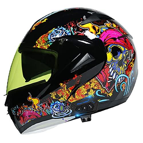 Casco de Motocicleta Modular,Casco de Moto Integrado ECE Homologado,Casco de Moto de Cara Completa con Visera antivaho Doble Frontal abatible con Bluetooth Casco de Carreras H1,M=57~58CM
