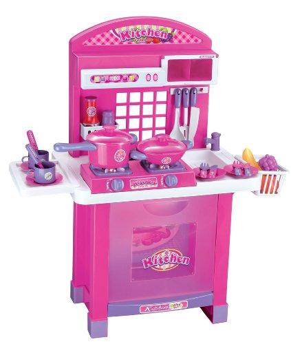 Cucina giocattolo per bambini completa di luci e rumori - 29 accessori inclusi - rosa