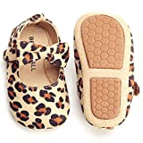 Felix & Flora Leopard Baby Shoes Girl 12-18 Months - Infant Baby Walking Shoes Moccasinss Rubber Sole Crib Shoes(Beige,12-18 Months)