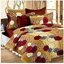 CrazyLooks 150 TC 100% Glace Cotton Double Bedsheet with 2 Pillow Covers, Size 90 by 100 3D Printed Multicolour