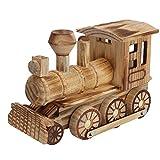 Jadpes Locomotive a Vapore in Legno Giocattolo, Modello di Locomotive a Vapore simulato per Bambini Giocattolo per Bambini Regalo per Bambini Decorazioni per la casa Trucco in Legno Set