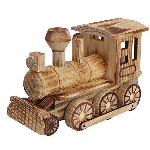 Tnfeeon Modelo de Tren de Vapor de Madera de simulación en Miniatura Locomotora Adorno de Escritorio Juguetes...