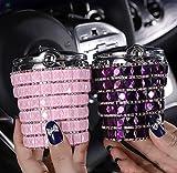 Veshow Cenicero de coche con tapa, cenicero de coche con incrustaciones de diamante, removedor de olores y difusor de humo con indicador LED de luz fría (rosa y morado)