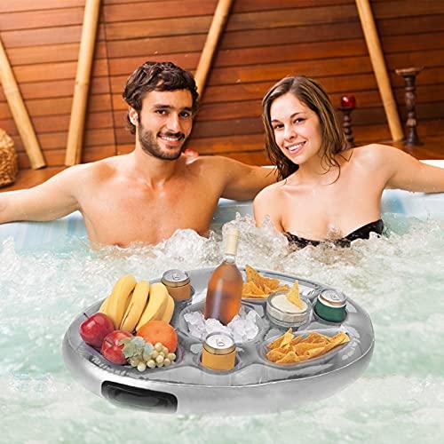 GAOwi Sommer Party Bucket Cup Holder Aufblasbare Pool Float Bier Getränk Kühler Tischbar Tablett Tragbare Strand Schwimmen Ring Zubehör (70x50 cm)