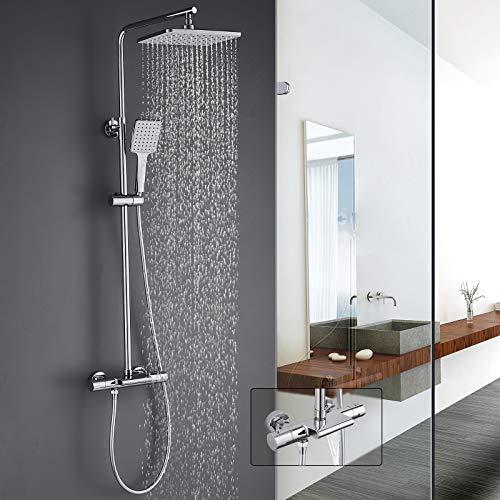 Duschsystem Thermostat mit Badewannenarmatur, WOOHSE Duscharmatur Regendusche mit Kopfbrause Handbrause und Wasserfall Badewanneneinlasses Brausegarnitur Verstellbare Duschstange für Bad/Badewanne