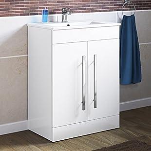 600 mm White Gloss Vanity Sink Unit Ceramic Basin Bathroom Storage Furniture MV800:Greatestmixtapes