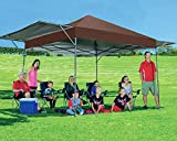 MASTERCANOPY Pop Up Canopy Tent 10x17 FT Instant Canopy with Adjustable Dual Half Awnings to Creat 170 Square feet of Shade Coverage; Sandbags,x4,Tent Stakes x8(Brown)