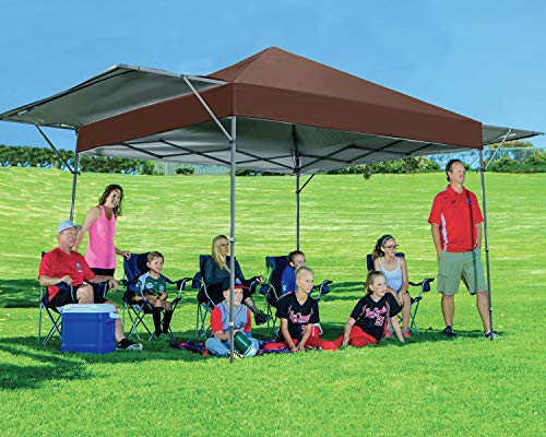 MASTERCANOPY 10x10 Pop-up Canopy Tent with Double Awnings Brown