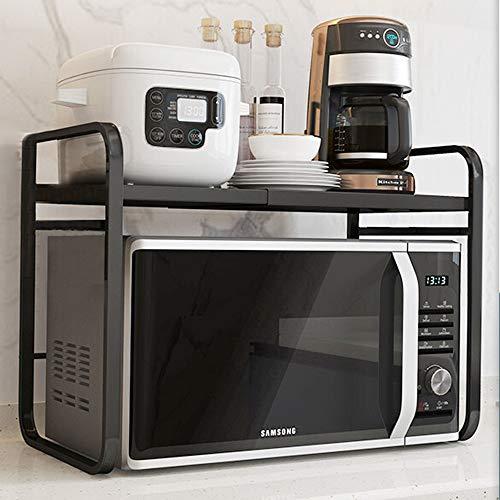 Soporte Extensible para Microondas con 3 Ganchos extraíbles, Estante de Acero al Carbono para Horno microondas Cocina Encimera, Carga 30 kg, 40-64 x 34.7 x 46.2cm (黑)
