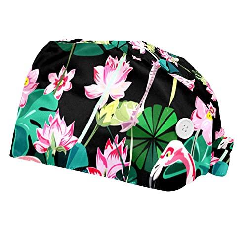 Tropicales Azules Tapas de Asistencia para Las Mujeres de la Hoja de Trabajo 2 Paquetes Scrub protección Sombrero Ajustable con Botones y Cintas de Sudor
