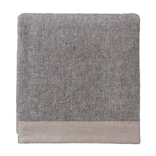 URBANARA 220x240 cm Wolldecke 'Fyn' Grau/Natur — 100% reine skandinavische Wolle — Ideal als Überwurf, Plaid oder Kuscheldecke für Sofa und Bett — Warme Decke aus Schurwolle mit Leinenborte