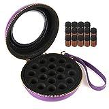 Salmue Caja de Aceite Esencial Estuche Portátil Caja - Almacenamiento de Aceites Esenciales Travel Cosmetic Bag - Estuche de Aceites Esenciales con 19 Compartimentos (Bag+Bottles-Purple)