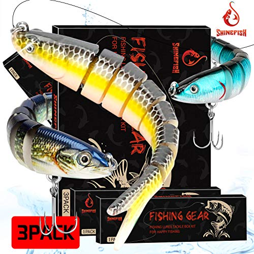SHINEFISH Fishing Lures Multi Jointed Swim baits Slow Sinking bassLures The New Upgrade Luya Fishing Lures Gear (GHI)