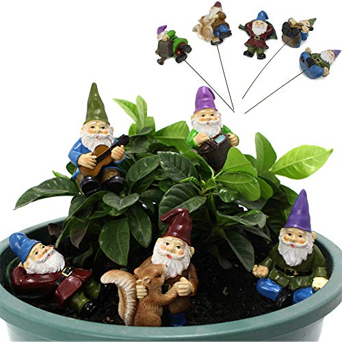 XILETU Miniature Gnome Figurines with Stable Stakes, 5 Different Gnome Garden Ornaments & Patio Decor Party Supplies Yard Stakes Decorative for Outdoor Christmas