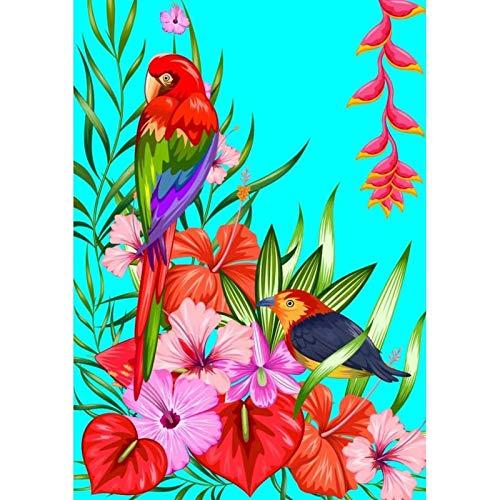 Lazodaer - Kit de pintura de diamantes 5D con taladro redondo redondo 5D, perfecto para relajación y decoración del hogar, flores y pájaros, 30 x 39 cm