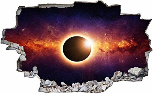 DesFoli Sonne Weltraum Erde Space Weltall Galaxy Planeten 3D Look Wandtattoo 70 x 115 cm Wand Durchbruch Wandbild Sticker Aufkleber C235