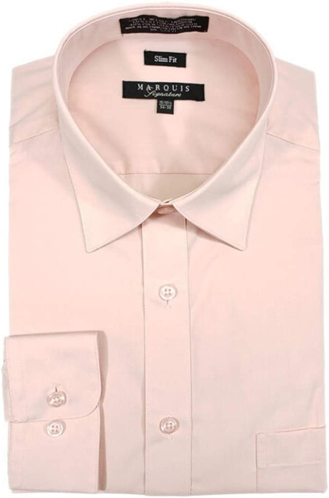 Marquis Men's Slim Fit Solid Dress Shirt